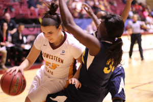 MSU defeated Texas A&M-Commerce 100-67 at home Feb. 8. Kirsti Degelia, senior in math, had a season high of 25 points. Andrea Carter, junior in math, had 19 points and nine rebounds and Shatoia Gober, junior in kinesology, finished with her second double-double with 13 points and 10 rebounds. The mustangs take on #5 West Texas A&M Wednesday at home.