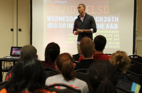 David Nelson, New York Jets wide receiver, gives a talk on his journey knowing God and his missionary work in Haiti in the Clark Student Center Comanche suite March 26.Photo by Lauren Roberts