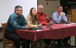 Daniel Nix, utility operation manager, Teresa Rose, asstiant director of public works, Gary Walker, SOAR representative, and Chris Horgen, KAUZ anchor, answer questions on the cloud seeding forum hosted by KAUZ in the Clark Student Center Shawnee Theater Saturday afternoon. Photo by Lauren Roberts