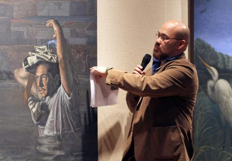 "On Friday evening in the Fain Fine Art Juanita Harvey Art Gallery artist Rigoberto Gonzalez presents his exhibition ""Baroque on the Border."" Photo by Yasmin Persaud"