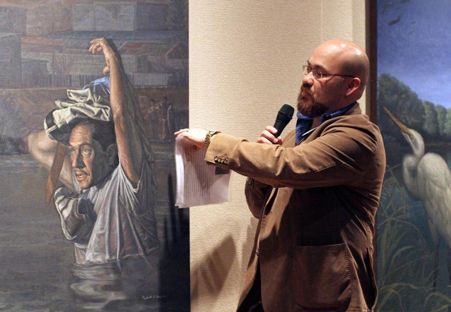 "On Friday evening in the Fain Fine Art Juanita Harvey Art Gallery artist Rigoberto Gonzalez presents his exhibition ""Baroque on the Border."" Photo by Yasmin Persaud"