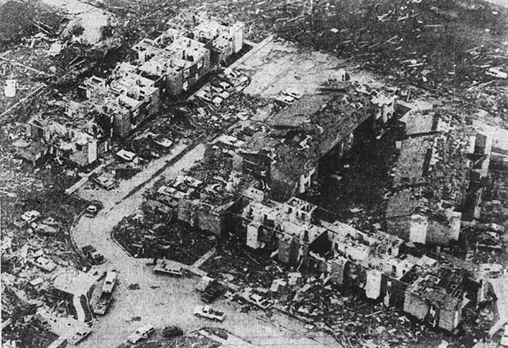 The 1979 tornado cut a wide path of destruction through Wichita Falls homes and apartments. Dallas Times Herald photo by Mark Perlstein