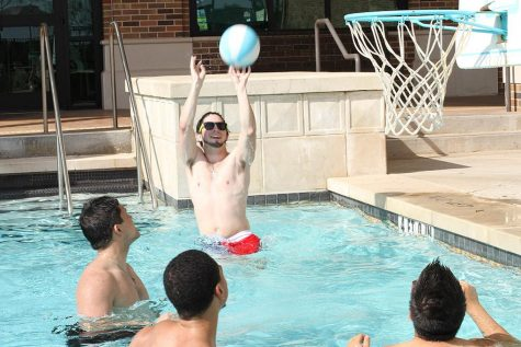 The Redwine Student Wellness Center pool is now open. Garrett Scott, sophomore in criminal justice, Kevin Reynoso, sophomore in criminal justice, Christian Tanner, junior in exercise physiology, and Chris Portillo, junior in general business, play basketball. Portillo said,