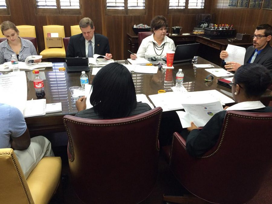 Dirk Welch, director of the Career Management Center and testing services, makes his request for an $8,000 increase to the Career Management Centers budget before the allocation committee on April 4. If we do receive the $8,000 increase for student wages, how it's going to help is students and alumni are not going to see any change from what they currently see in terms of services, Welch said. Photo by Ethan Metcalf.