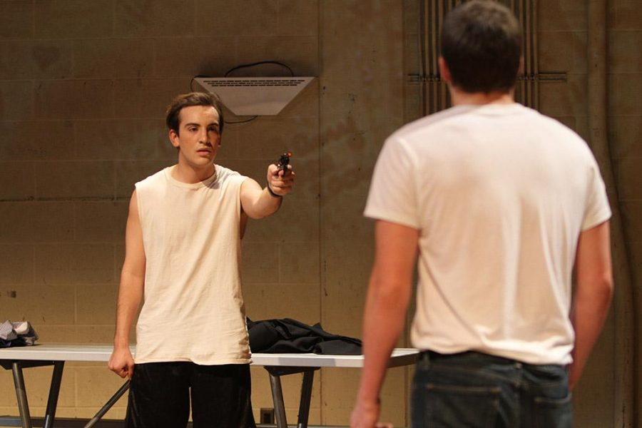 Ty Lawson, freshman in mass communication and Erik Temblador, sophomore in theater perform in the one-act play The Former One-on-One Basketball Champion Monday night in the Bea Wood theater. Temblador said, Im in two plays and it is really dauting and exciting at the same time. I was excited for this play becasue I used to play basketball and the other play Im in is a comedy which will be fun. Photo by Yasmin Persaud