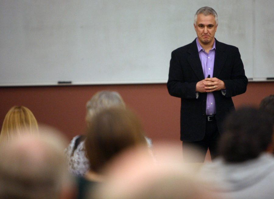 Peter Boghossian, philosophy instructor at Portland State University, speaks to a full house in Dillard 101. It doesnt take faith to say I dont know. It takes humility, Boghossian said in his lecture.
