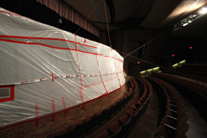The Fain Theater was empty of workers Thursday after they were sent of the work site. Facilities Director David Percy said that the floor installation was not good enough. What flooring has been installed will be removed. The current contractors will finish encapsulating the asbestos and another company will be hired to install the theater floor. The construction was supposed to be finished by the first day of classes and will be pushed back two more weeks. Photo by Lauren Roberts