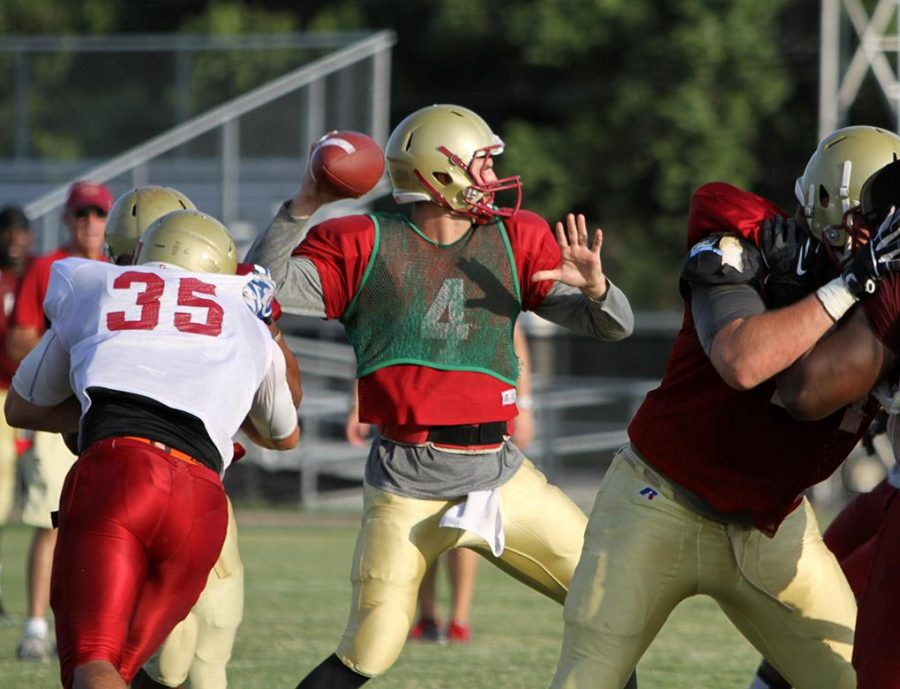 Jake Glover, accounting senior, throws the ball during a scrimmage Aug. 21 at the practice fields.