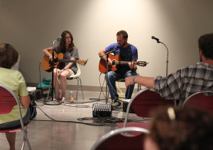 Americana folk-rocker Richie Bates and Austin-based Ali Holder perform at Live at the Lake Thursday. The rain forced the event to be moved inside the Wichita Falls Museum of Art at Midwestern State University to the Mac and Connie Cannedy Hall. Photo by Lauren Roberts