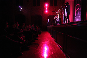 In the first show of their 2014 international tour, the group Pentatonix consisting of Scott Hoying, Kirstie Maldonado, Mitch Grassi, Avi Kaplan and Kevin Olusola, performed in Akin Auditorium at Midwestern State University Feb. 4. Photo by Lauren Roberts
