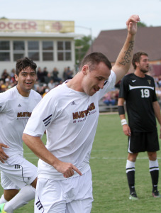 Andrew Power, business senior, celebrates after scoring the first goal against Colorado-Colorado Springs at the soccer field Saturday afternoon. MSU would win in a shutout 2-0. Photo by Lauren Roberts