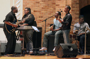 The band warmed up while getting ready for the Soca Show Monday Night where Tarina Simon, marketing senior, won first place. Photo by Rachel Johnson