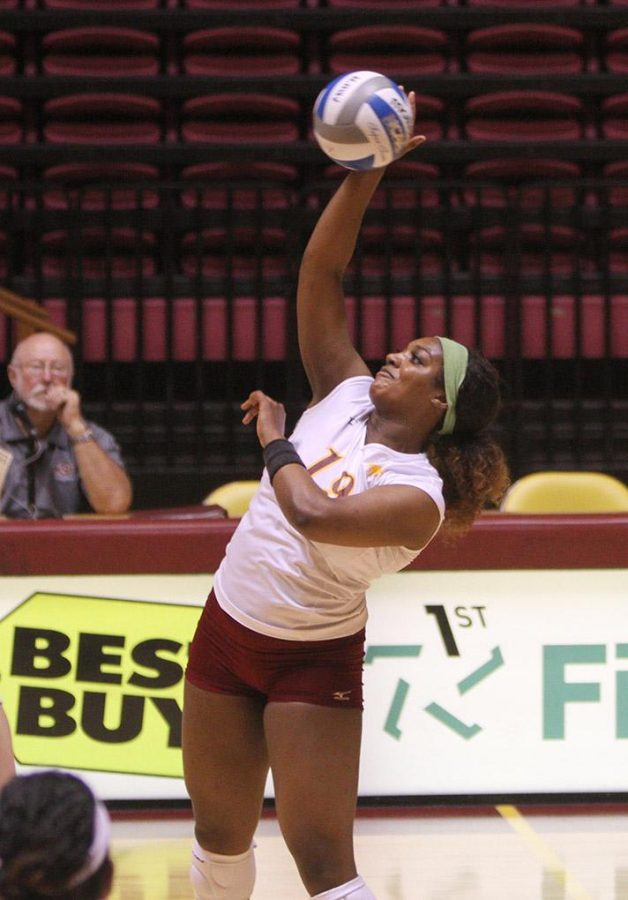 Bailee Larkin-McDowell, nursing freshman, hits the ball over the net at D.L. Ligon Coliseum Saturday afternoon against Angelo State. MSU lost 1-3. Photo by Lauren Roberts