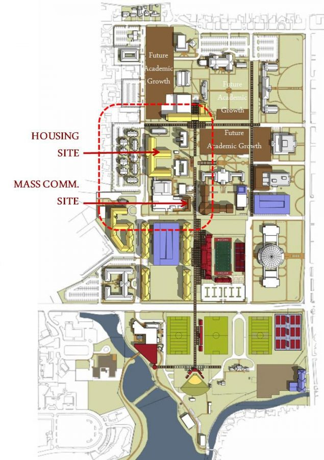 The original long-range, master plan, shows sites of facilities to be built decades in the future depending on enrollment and funding.