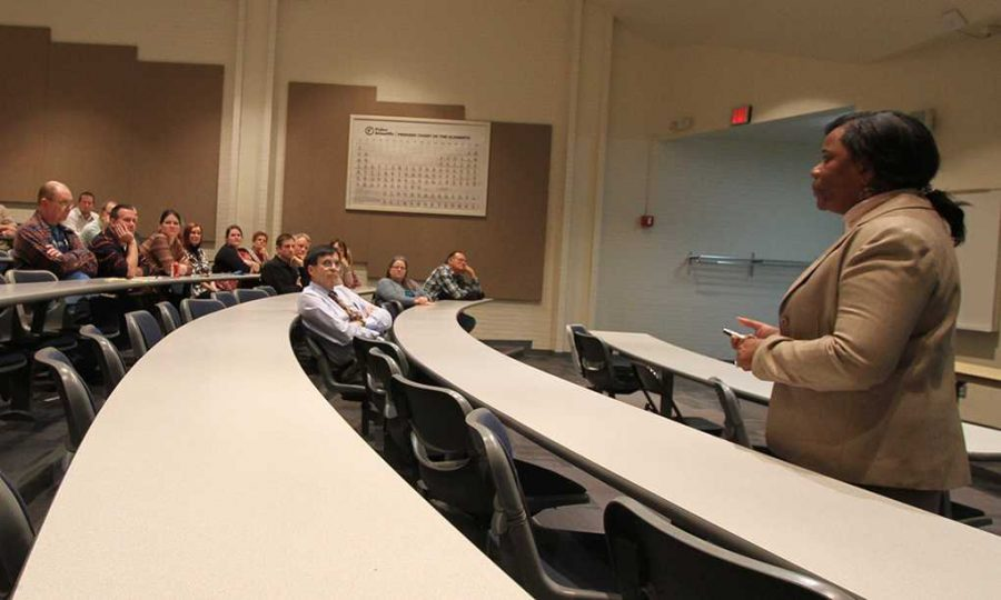 Connie Allen, biophysical chemist, gives a presentation to professors in Bolin Hall room 127 Monday as part of the interview process for hiring a new dean in the College of Science and Mathematics. Photo by Lauren Roberts