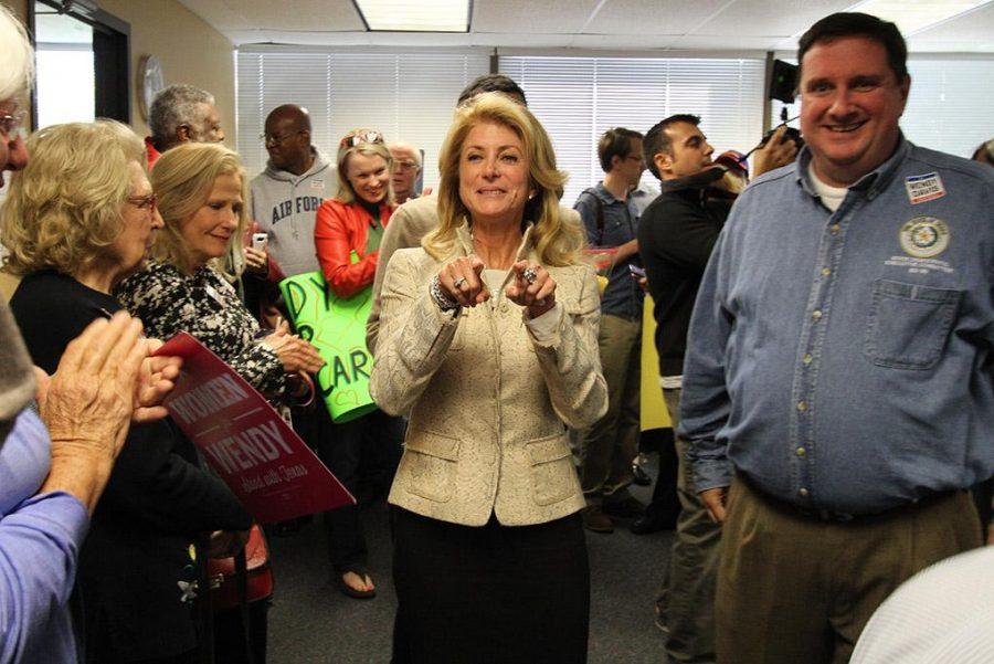 Wendy Davis, gubernatorial candidate, walks in the Wichita Falls County Democrats headquarters Saturday, Nov. 1, 2014. Photo by Lauren Roberts