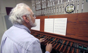 Jim Quashnock, member of The Guild of Carillonneurs, plays Christmas music on the carillon for the MSU-Burns Fantasy of Lights opening ceremony. Photo by Lauren Roberts