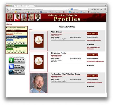 Screenshot of the Midwestern State University faculty and staff directory.