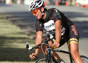 Hannah Ross, exercise physiology graduate, rides in the Hotter 'N Hell crit races Aug. 22. Photo by Lauren Roberts