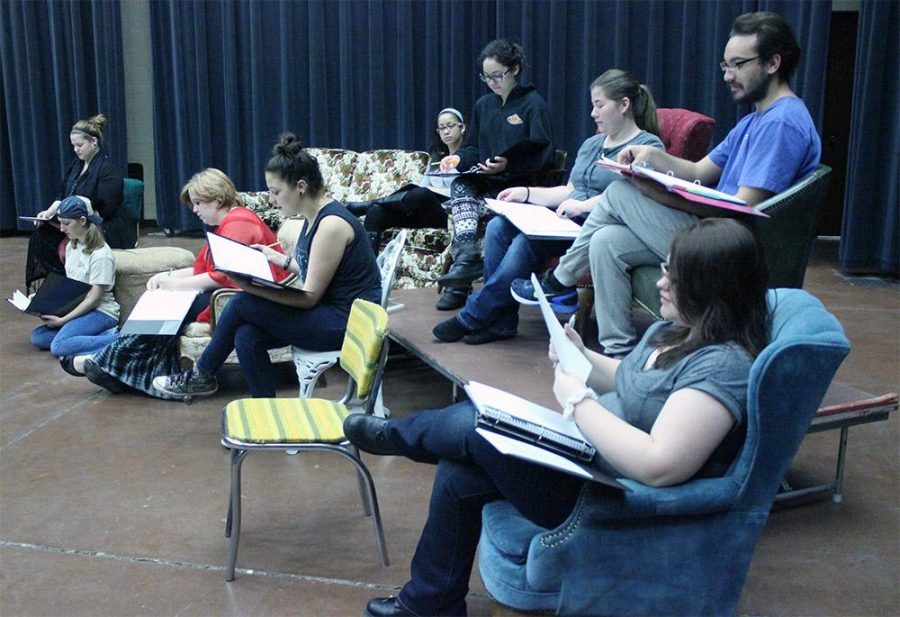 The cast for the play, 'The Vagina Monologues', besides a few that were missing for various reasons, rehearse for the first time together to block with a set on Sunday morning, February 1. Photo by Rachel Johnson