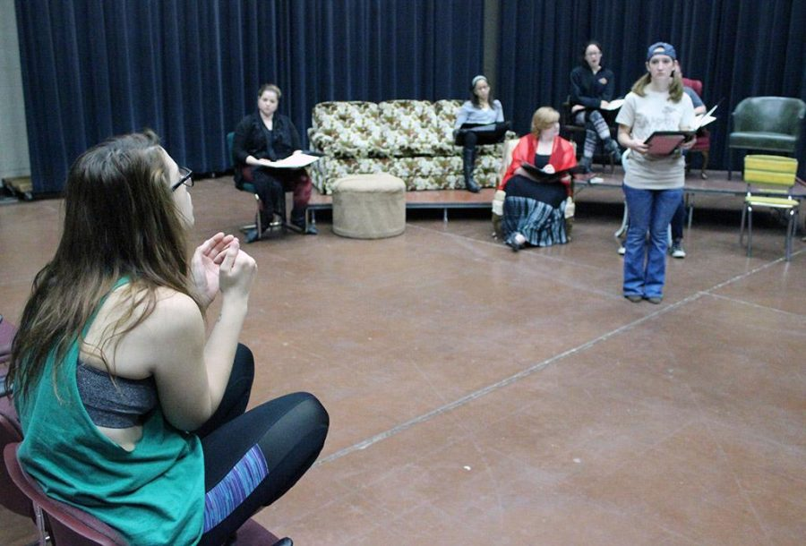 Leanne Ottaviano, theater senior, directs the cast of The Vagina Monologues at its first rehearsal as a group Sunday morning, February 1. Photo by Rachel Johnson