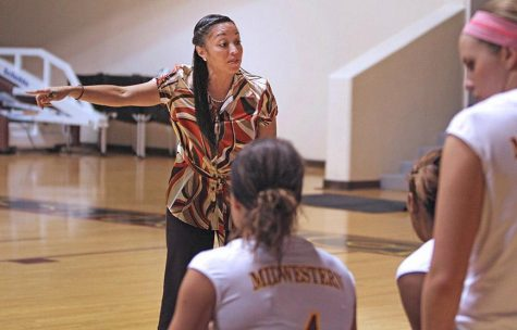 Then head coach Venera Flores-Stafford talks to the team during its match against Texas A&M University-Kingsville. MSU lost to TAMK in the fifth set. Photo by Lauren Roberts