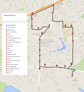 Map of the new bus route and the 21 stops.