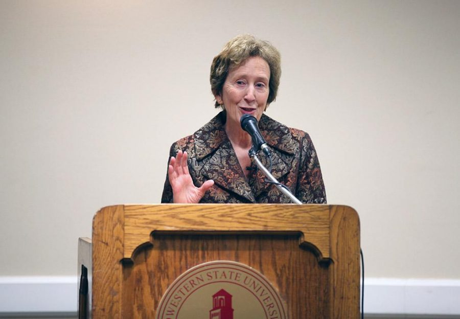 A candidate for the presidency of MWSU, Suzanne Shipley, now president of Shepherd University, answers questions at a forum Feb. 24. Photo by Rachel Johnson.