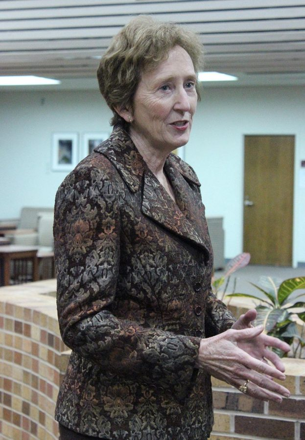 Suzanne Shipley, president elect for MSU, answers questions from reporters before her candidate forum Feb. 24. The Board of Regents officially hired her March 31 and moved her start date to Aug. 8.  Photo by Rachel Johnson.