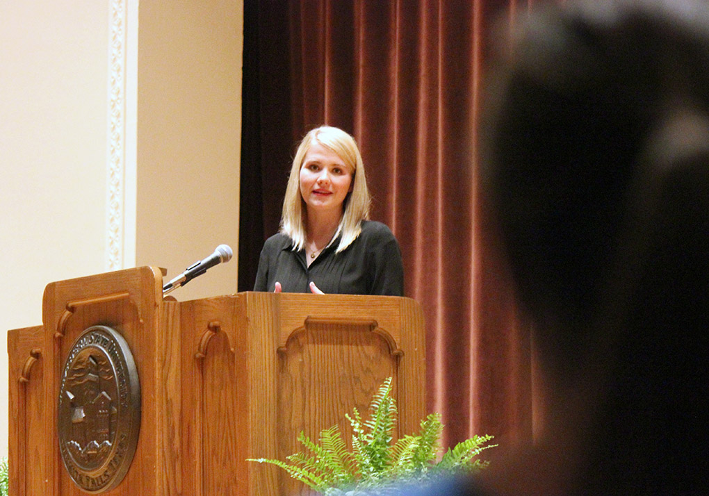 Elizabeth Smart answers Julie Terry's, a stay-at-home mom, question about ways that anyone can help with this cause and spread awareness. Smart spoke as part of the Artist-Lecture Series about her story of being at the center of a nationally known child abduction case in 2002, and now has an advocacy program for Crimes Against Children, which eventually merged with the Operation Underground Railroad. Their was a full house in the Akin Auditorium for the last Artist-Lecture Series of this school year, Tues. April 21, 2015. Photo by Rachel Johnson