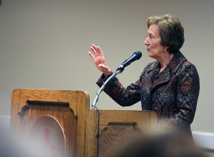 Suzzane Shipley, former president of Shephard University, and new president at MSU, answers questions at a  forum Feb. 14, 2015. Photo by Rachel Johnson