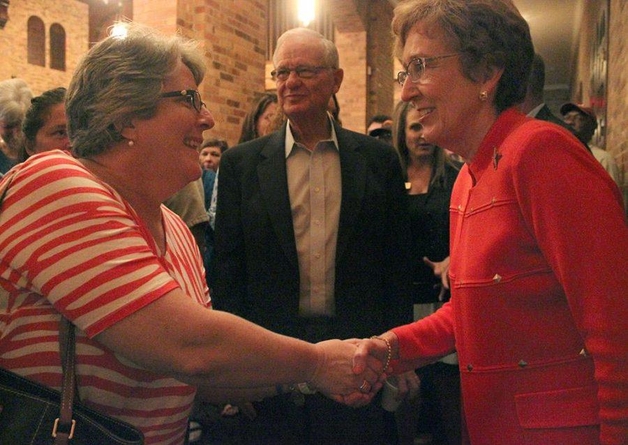 Kathleen Williamson, chair of nursing program, told President Suzanne Shipley that they both