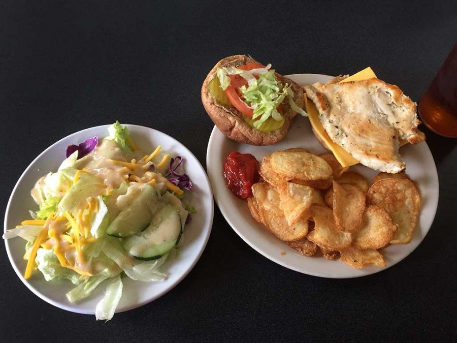 Grilled chicken sandwich with chips and a side salad from the Mesquite Dining Hall. Photo by Yolanda Torres.