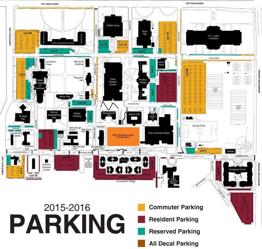 Updated parking map for the 2015-2016 year, courtesy of Dan Williams, chief of police.