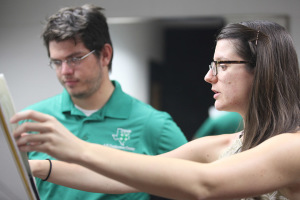 Hana Beloglavec, visiting instructor and international award-winning trombonist, helps James Ivey, music and mechanical engineer senior, in a private lesson, Sept. 9. Photo by Rachel Johnson