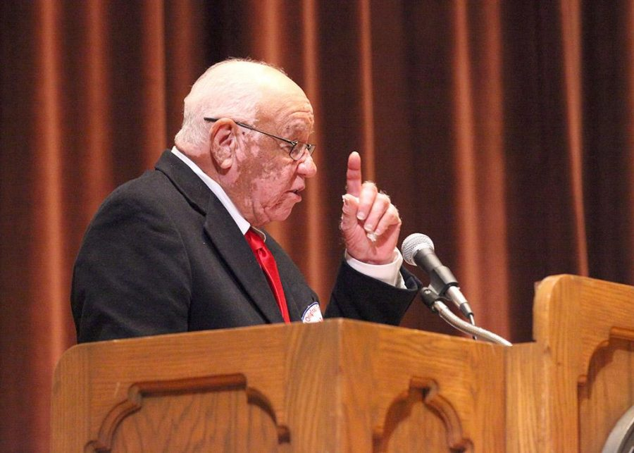 Herman Boone, guest speaker for the Artist Lecture series and retired coach, gives an introduction to his speech on team dynamics and success in relations to his past and the challenges him and his team faced and overcame, held in Akin Auditorium with about 400 people in attendance, Oct 13. Photo by Gabriella Solis