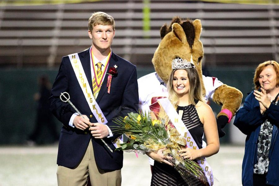 Clayton Brown, mechanical engineering senior, and Shelby Cowman, marketing senior, are declared 2015 Homecoming King and Queen during halftime of MSU vs Texas A&M-Kingsville game, where MSU beat TAMUK 49-41 in Memorial Stadium, Oct, 31. Photo by Francisco Martinez