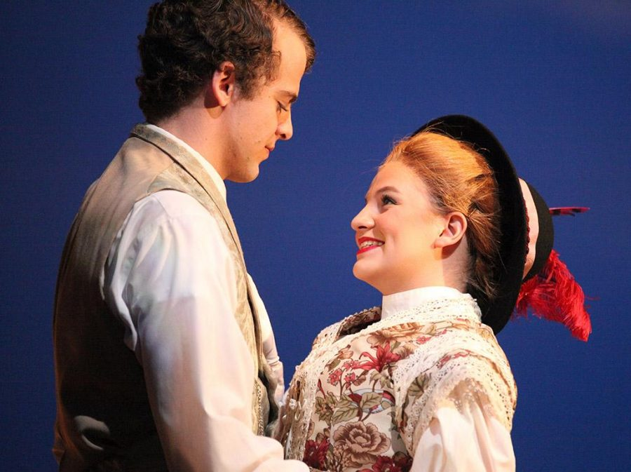 Houston Pokorny, playing John Buchanan Jr., and Tessa Rae Dschaak, playing Nellie Ewell, perform a scene together during a dress rehearsal of Summer and Smoke, Nov. 10.  Photo by Gabriella Solis