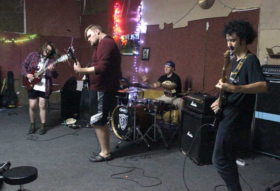 The World Behind Me practices in a space in downtown Wichita Falls, Oct. 7. Photo by Rachel Johnson