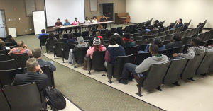 The black student leaders held a Town Hall Meeting in response to the discrimination on different levels that was happening on campus weeks prior to the meeting, it was held in Shawnee Theatre, Nov. 23, with about 30 people in attendance. Photo by Francisco Martinez
