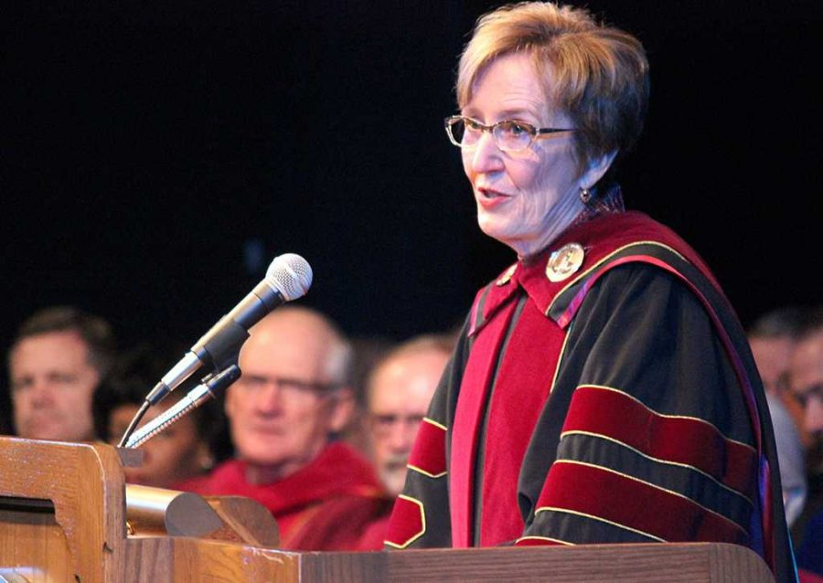 Suzanne Shipley gives her presidential address at her Inaguration as the 11th MWSU president. Photo by Rachel Johnson