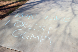 Encouraging messages were written around Sikes Lake to motivate participants of the one mile Cookie Dash set up by the University Programming Board, Jan. 23, 2016. Photo by Francisco Martinez.