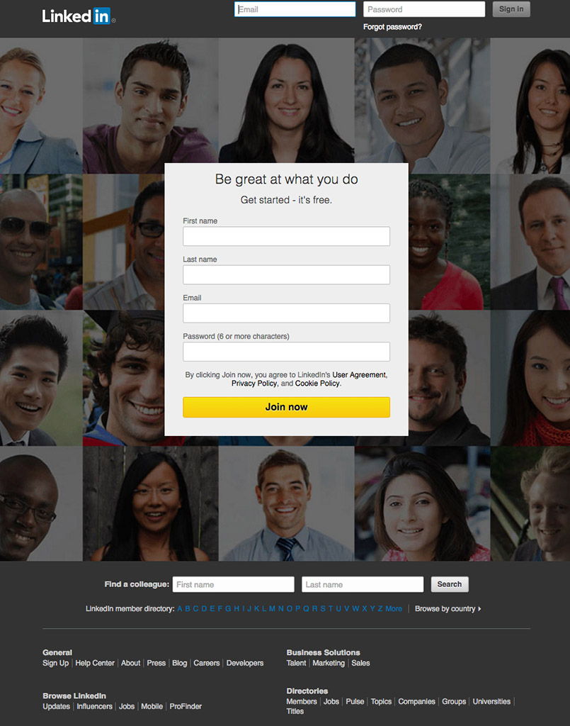 Screen shot from LinkedIn.com
