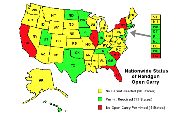Nationwide Status of Handgun Open Carry SOURCE; opencarry.org