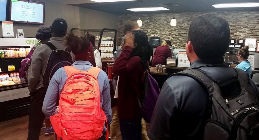 The line at the coffee shop in Moffett Library, March 16.