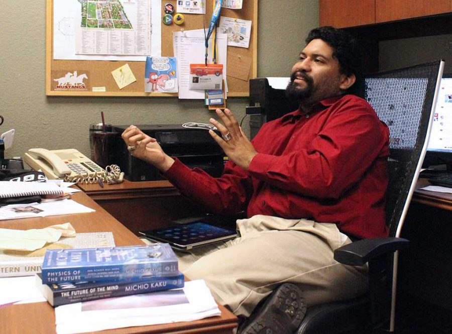 A.J. Lopez III, social media coordinator for student affairs and enrollment management, talks about his normal day-to-day activities as his role as Social Media Coordinator in an interview with a Wichitan reporter. Photo by Rachel Johnson