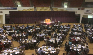 Students, sponsers, and guests sit at decorated and reserved tables at the Honors Recognition Banquet in the D.L. Ligon Coliseum on April 22. Photo by Kayla White.