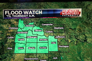 Flood watch around texoma
