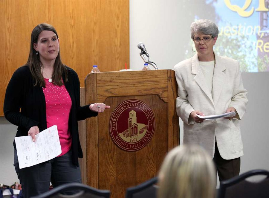 Lori Arnold L.P.C. and Vikki Chaviers L.P.C. introduce the question, persuade, refer suicide training program on April 14, in the Wichita Room in the CSC. Photo by Dewey Cooper