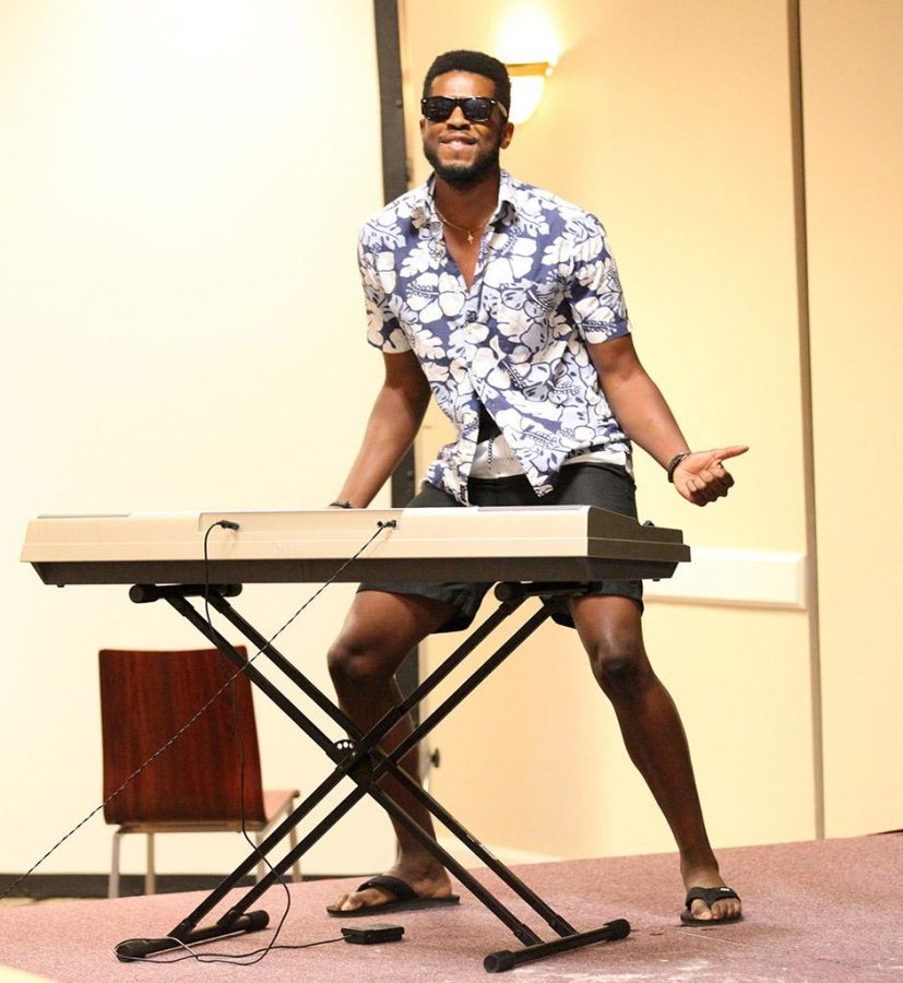 Valentine Atuchukwu, nursing senior, contestant in Mr.Heartthrob showed off his talent in Comanche suites on April 30.Photo buy Makayla Burnham